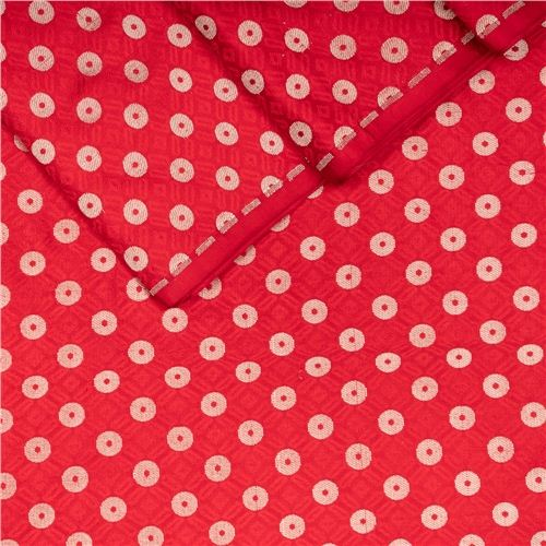 Ginni Red Tanchoi Silk Fabric