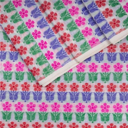 Guldavari Buti Multicolour White Silk Fabric