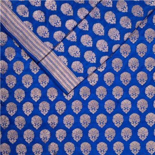 Guldavari Buti Royal Blue Silk Fabric