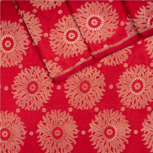 Sunflower Red Brocade Silk Fabric
