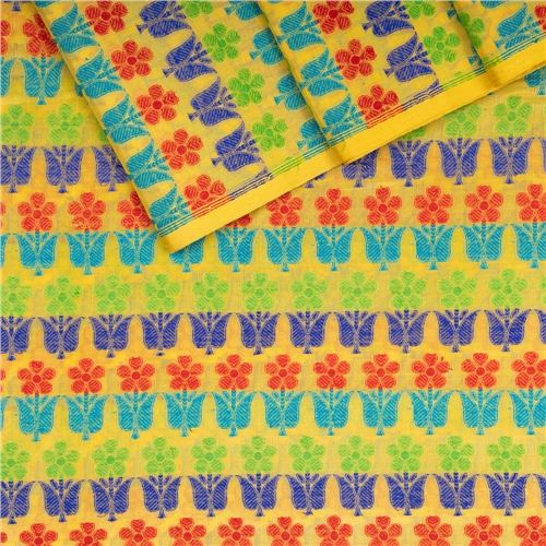 Guldavari Buti Multicolour Yellow Silk Fabric