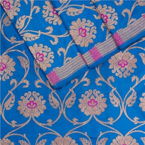 Minadar Peacock Blue Silk Fabric
