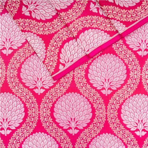 Guldavari Buta Jaal Pink Silk Fabric