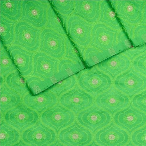 Shahteer Dollar Tanchoi Green Silk Fabric