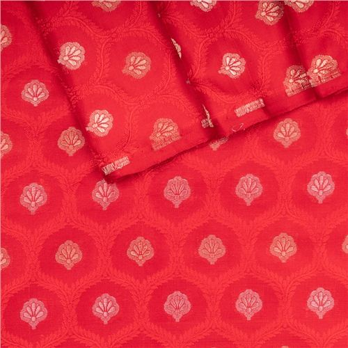 Chunri Jaal Tanchoi Red Silk Fabric