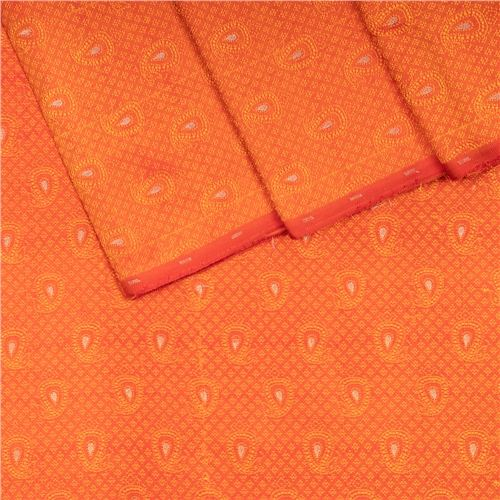 Jamevar Tanchoi Saffron Orange Silk Fabric