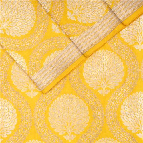 Guldavari Buta Jaal Yellow Silk Fabric