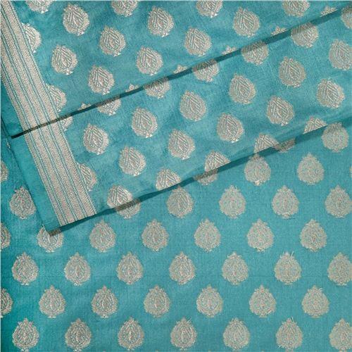 Anaar Buti Sky Blue Silk Fabric