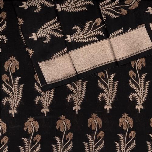 Guldavari Buta Black Silk Fabric