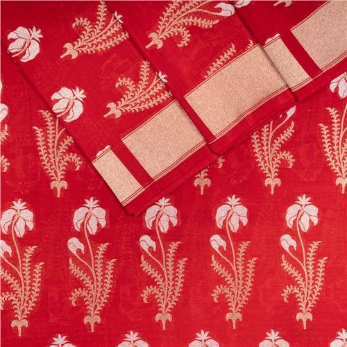 Guldavari Buta Red Silk Fabric