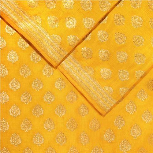 Anaar Buti Yellow Silk Fabric