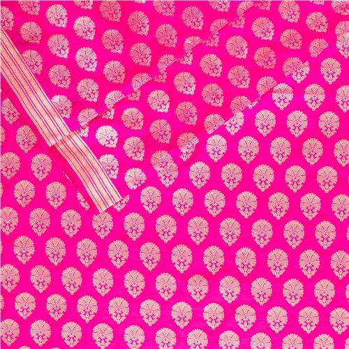 Guldavari Buti Pink Silk Fabric