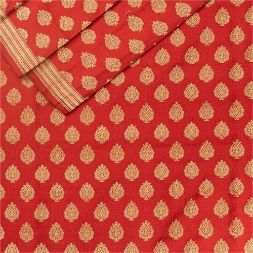 Anaar Buti Red Silk Fabric