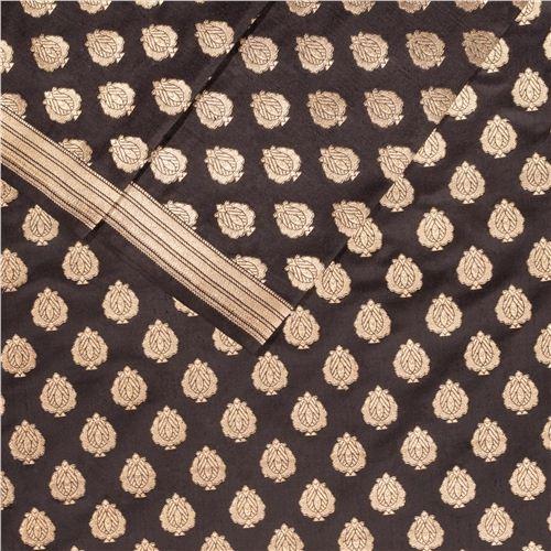 Anaar Buti Black Silk Fabric