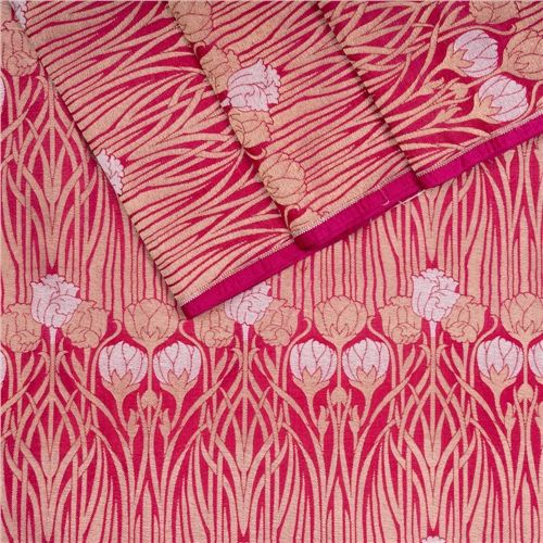 Kali Gulaab Dark Pink Silk Fabric