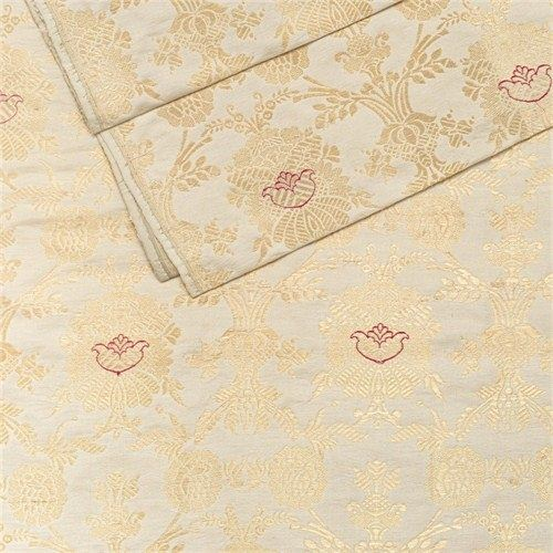 Khinkhwab Jungla Pearl White Silk Fabric