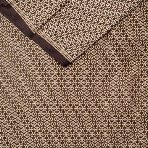 Charkhi Copper Zari Chocolate Silk Fabric