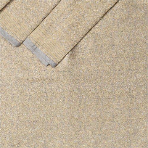 Phool Brocade Grey Silk Fabric
