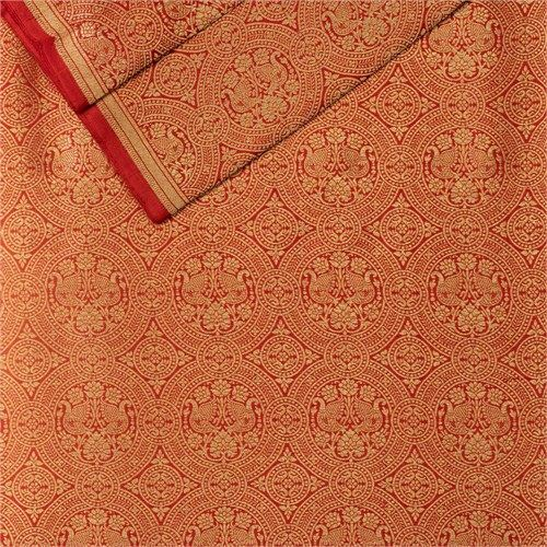 Peacock Brocade Red Silk Fabric