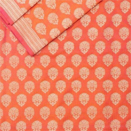 Guldavari Buti Sunset Orange Silk Fabric