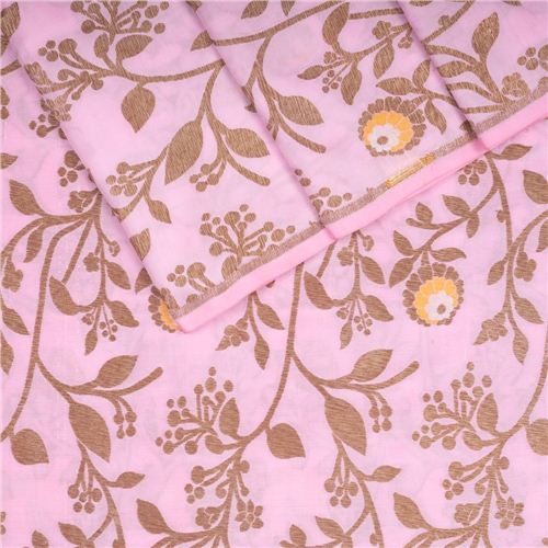 Tilfi Jaal Mina Flower Buti Baby Pink Silk Fabric