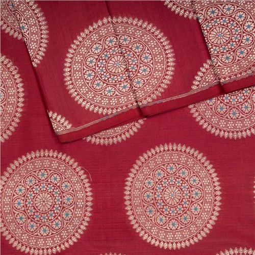 Ashrafi Currant Red Silk Fabric