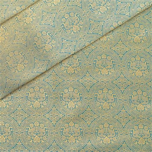 Peacock Brocade Blue Silk Fabric