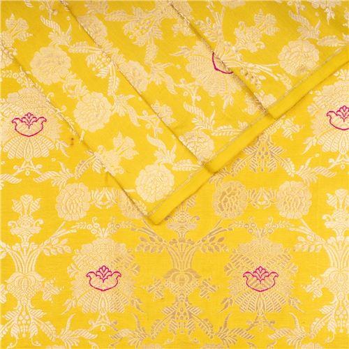 Khinkhwab Jungla Yellow Silk Fabric