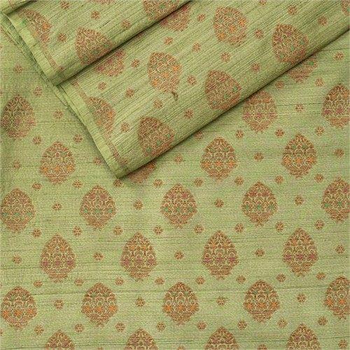 Paan Buta Green Silk Tussar Fabric