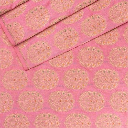 Minakari Floral Baby Pink Silk Fabric