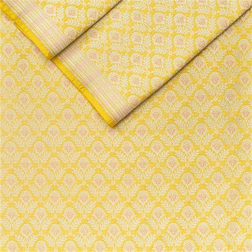 Gul Brocade Minakari Yellow Silk Fabric