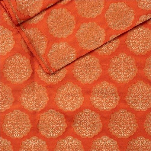 Khinkhwab Buta Orange Silk Fabric