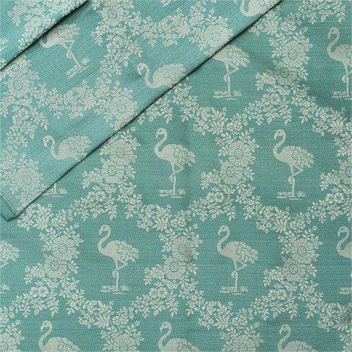 Khinkhwab Flamingo Aqua Silk Fabric