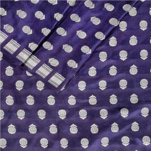 Chunri Buti Navy Blue Satin Silk Fabric