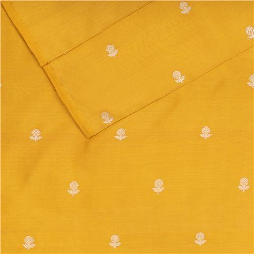 Daisy Yellow Silk Fabric