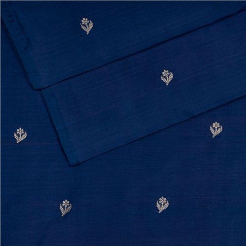 Chunri Buti Navy Blue Silk Fabric