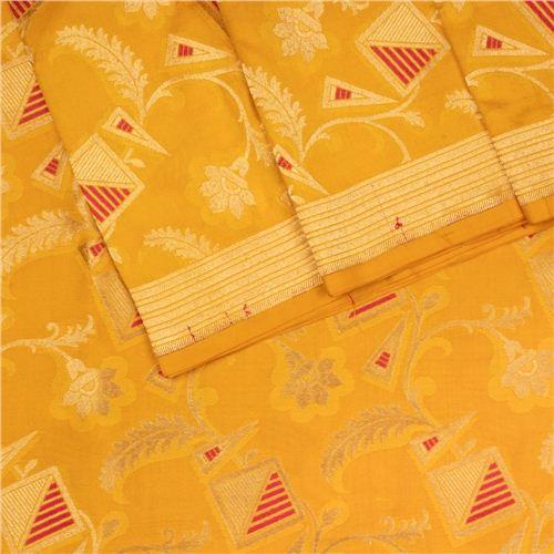 Alfi Jungla Silver Gold Yellow Silk Fabric