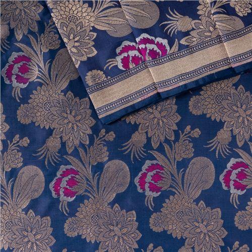 Khinkhwab Mina Jaal Indigo Blue Silk Fabric