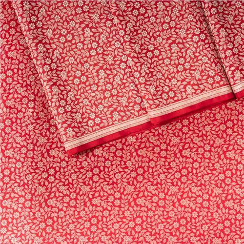 Daisy Brocade Jaal Red Silk Fabric