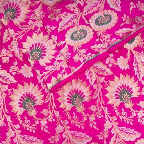 Khinkhwab Minakari Pink Silk Fabric