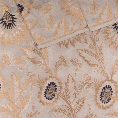 Gyasar Khinkhwab Hibiscus White Silk Fabric
