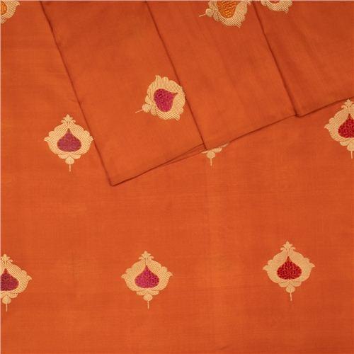 Taj Minadar Buta Rust Silk Fabric
