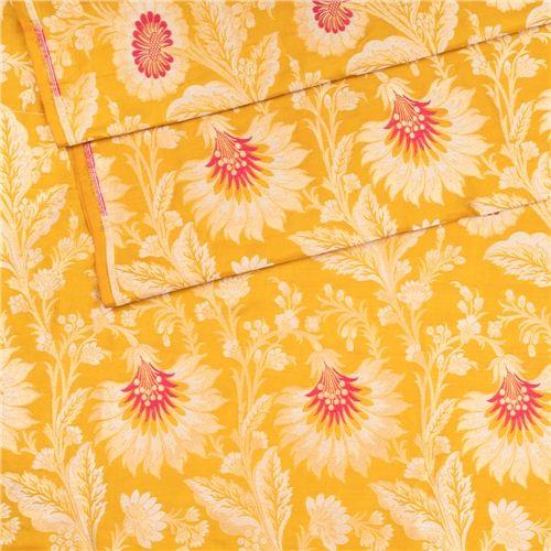 Gyasar Khinkhwab Hibiscus Mustard Silk Fabric