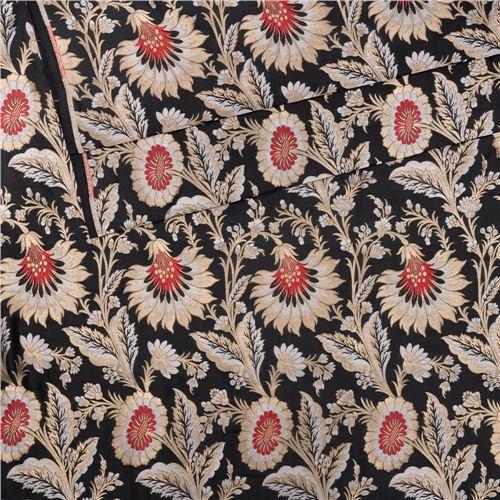 Gyasar Khinkhwab Hibiscus Black Silk Fabric