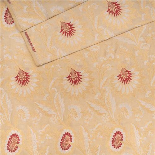 Gyasar Khinkhwab Hibiscus Beige Silk Fabric