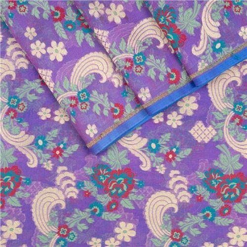 Daisy Amethyst Kora Silk Fabric