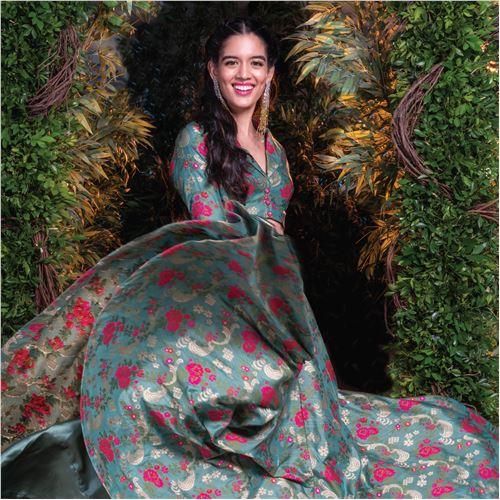 Gul Chameli Banarasi Handwoven Silk Skirt