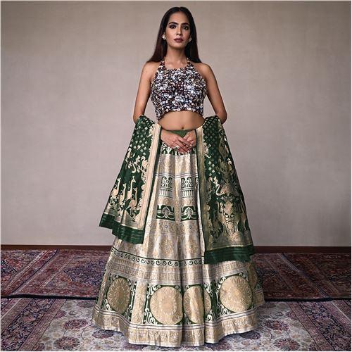 Konark Banarasi Handwoven Silk Lehenga
