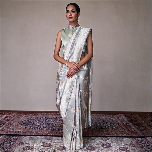 Morni Minakari Aada Ash Grey Silk Saree