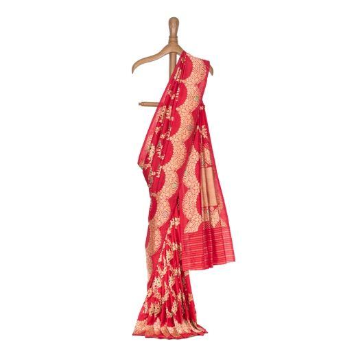Mandarin Oriental Garden Red Banarasi Handwoven Silk Saree